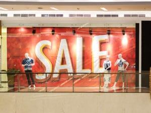 printed fabric banner in a window mall