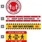 keep safe distance floor stickers