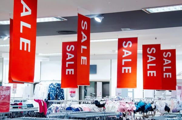 double-sided signs in the store